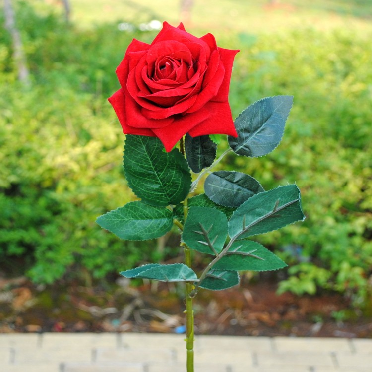 terciopelo de alta calidad tabla de la boda para huspedes decorativo flores artificiales rosas rojas grandes - Fotos De Rosas Rojas Grandes