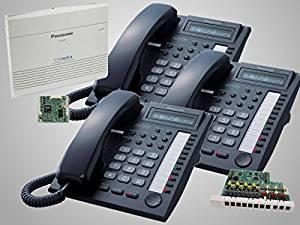 3 Panasonic KX-T7730 Black Phones + Panasonic KX-TA824 Phone System with KX-TA82483 3x8 Expansion and KX-TA82493 Caller ID Card