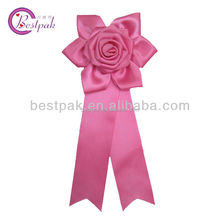 new designed pink polyester rosette ribbon brooch from Chinese factory