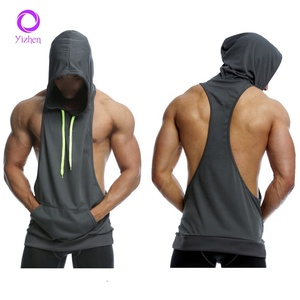 High Quality custom singlet with hoodie men plain screen printed gym vest for men