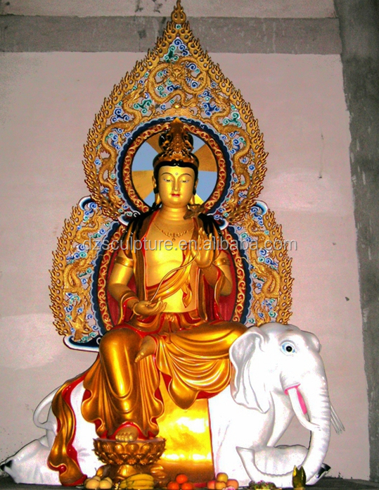 Chinese temple statue buddha with sitting elephant / lion figurines