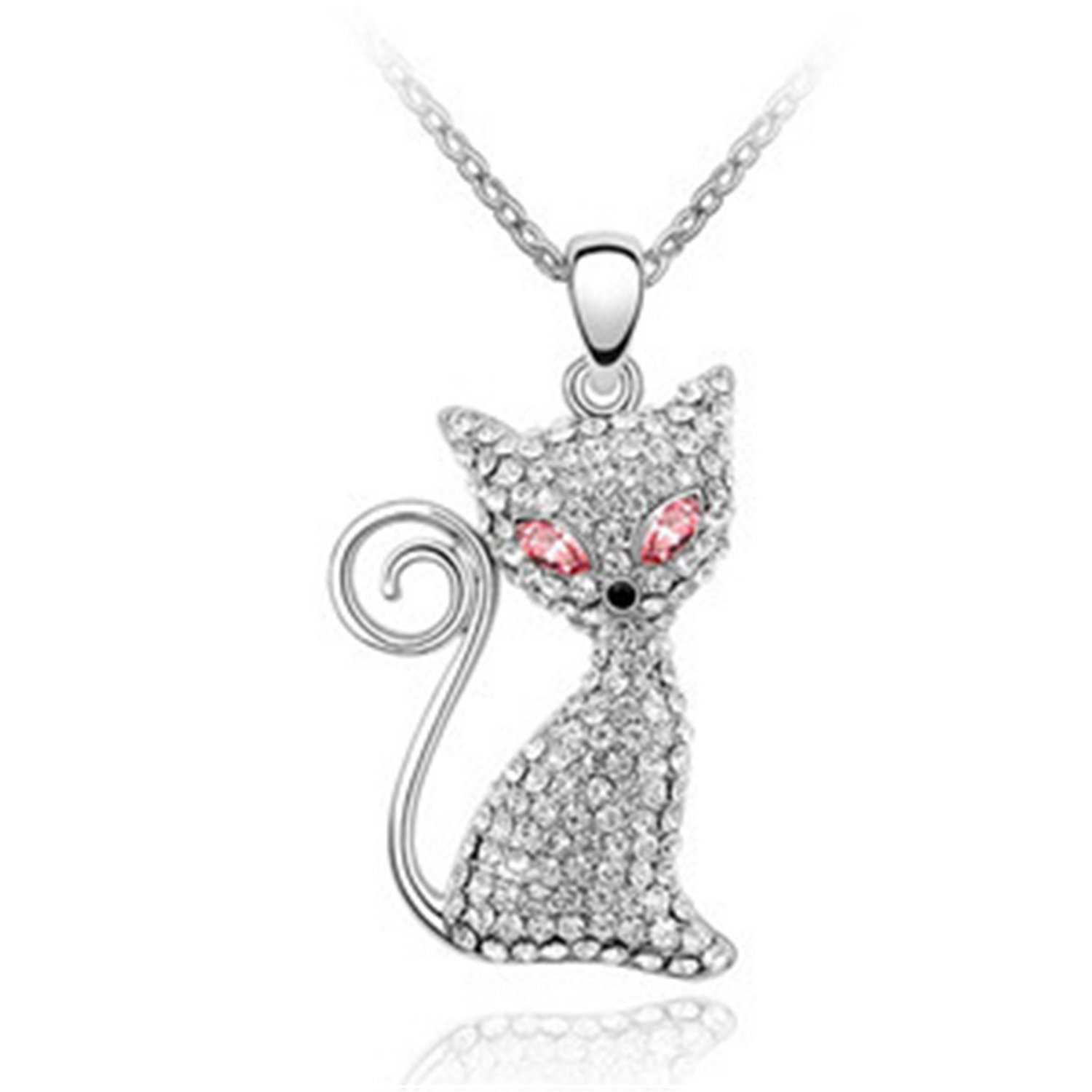 Custom Made Any NameKitty Molly Crystals Cat Pendant Necklace, Elegant and eye-catching Women Fashion Jewelry-Light Rose