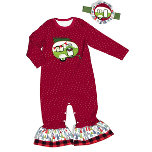 wholesale Camper embroidery Christmas baby romper infant girls rompers