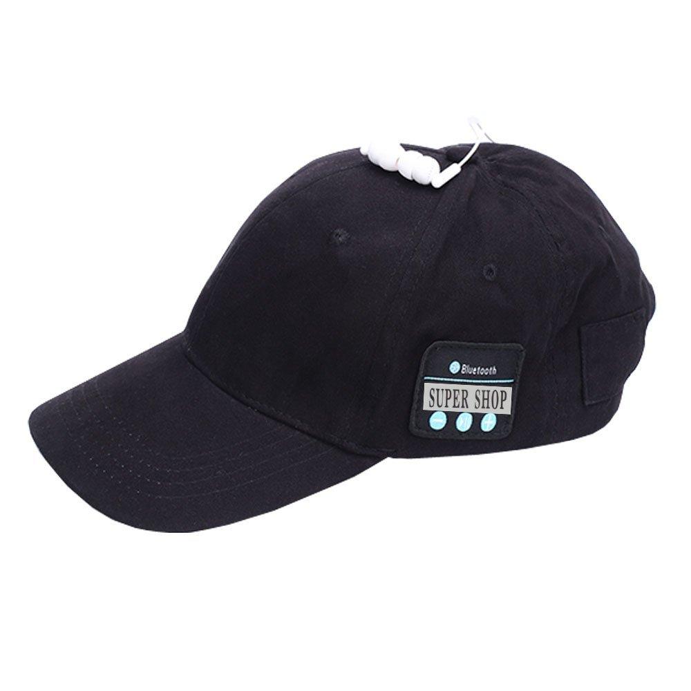 Supershop Wireless Bluetooth Music Baseball Cap Sports Sun Hat with Mic Answer Phone Hands-free Bluetooth In-ear Headset Adjustable Hat Speaker Summer Cap for Men Women (BS-01 Black)