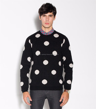 Wool Cashmere Crew Neck Patterned Jacquard Knitting Mens Pullover Sweaters