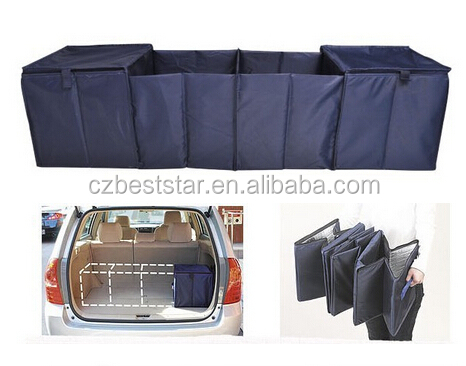 4 cell collapsible car boot organiser trunk organizer storage boxes with cooler bag