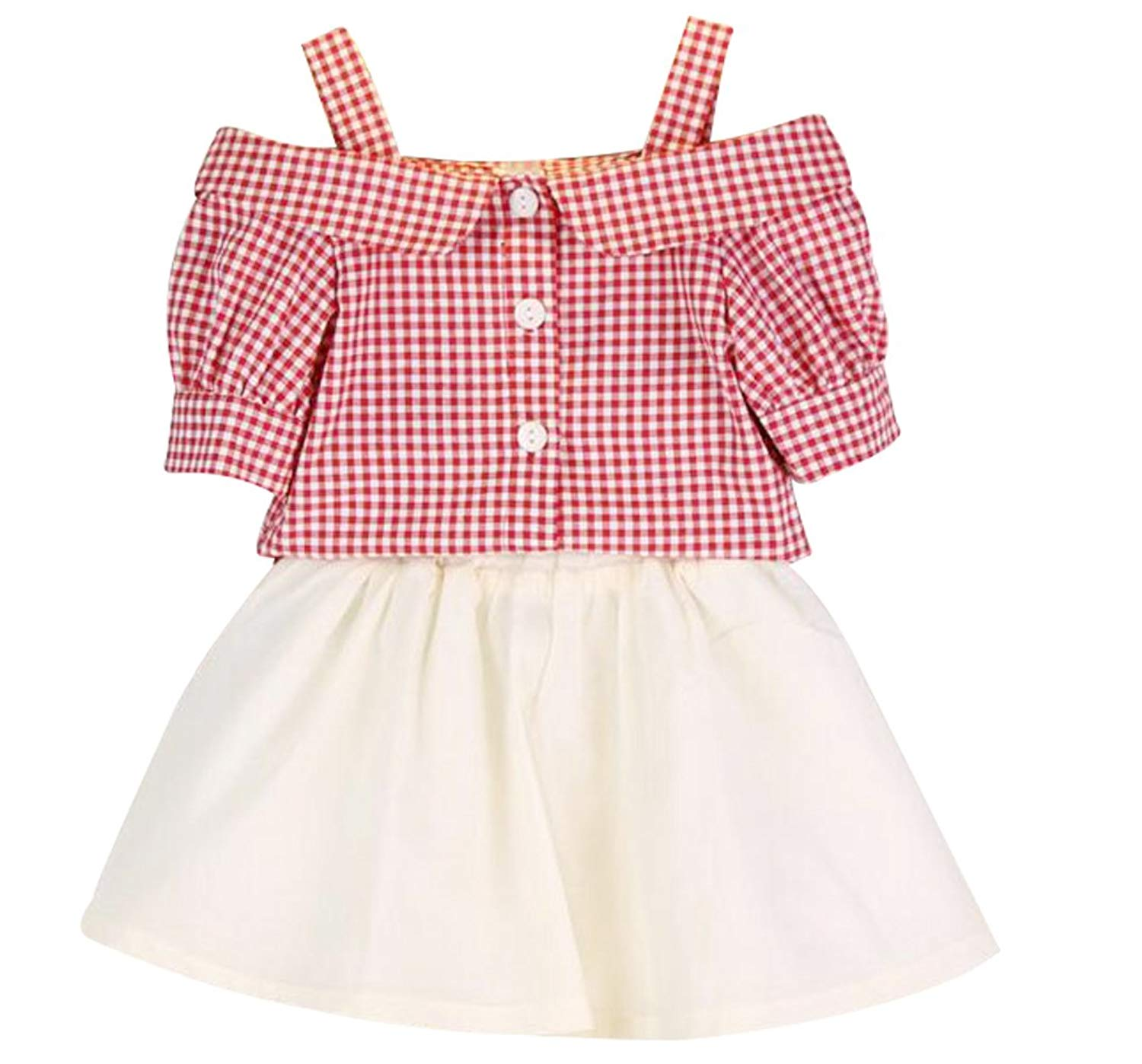 b5114fbf6 Get Quotations · UNIQUEONE Kids Girls Summer Off-Shoulder Plaid Shirt Tops  Tutu Skirts 2Pcs Outfits