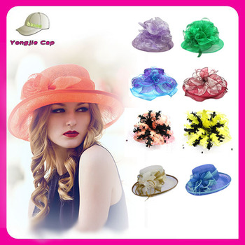 wholesale fashion cheap 5 styles new design wedding fancy ladies sinamay church  hat 35cb5de0715