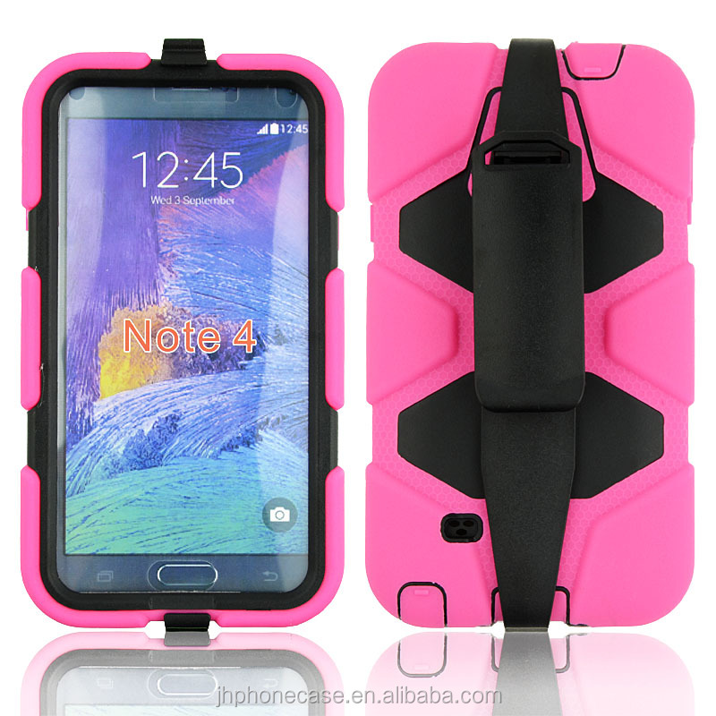 Heavy duty shockproof scratchproof waterproof silicone case for Galaxy Note 4 cover with clip