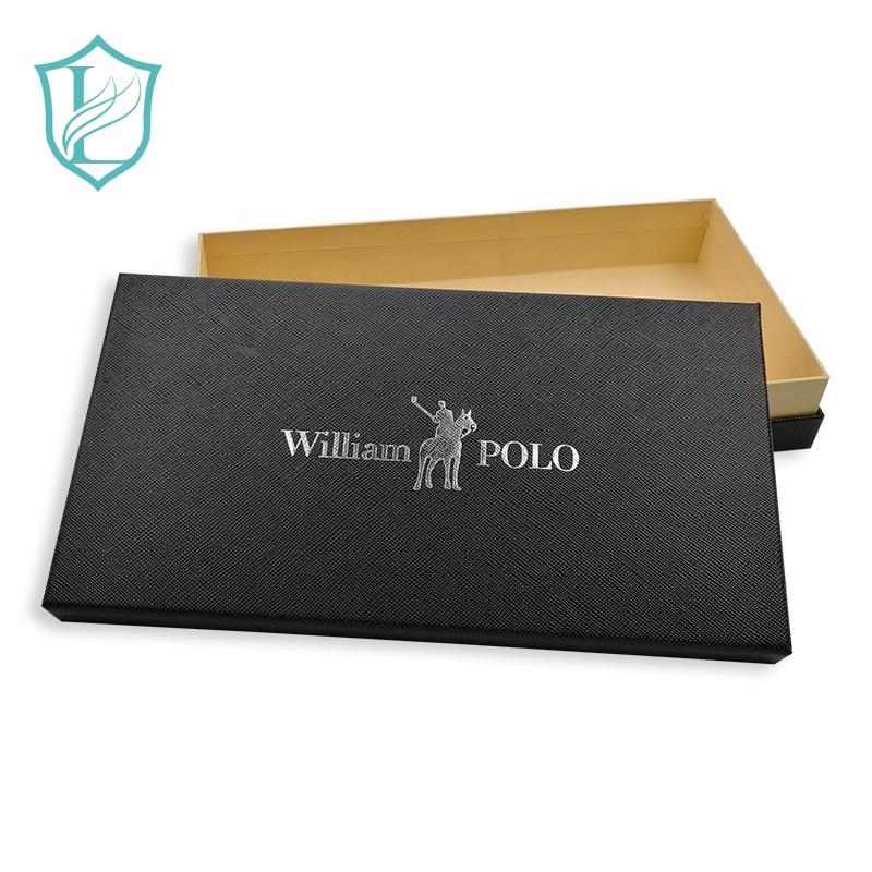 Personalizado Mens Tie Wrap Quente Embalagem Caixa de Presente De Papelão prata Preto