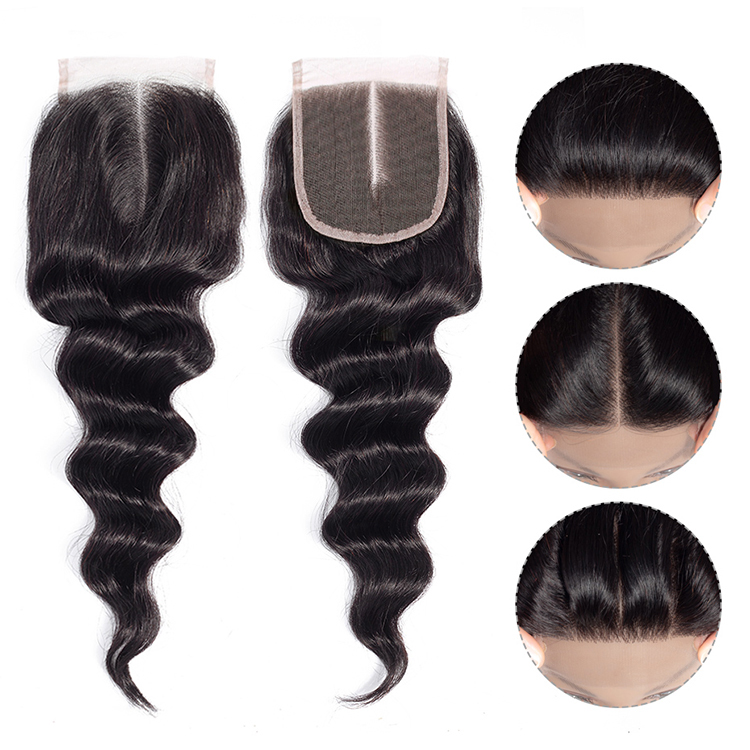 Luxefame Brazilian Hair Closure Loose Deep Free/Middle/Three Part Natural Color 4x4 Swiss Lace Remy Human Hair Closure