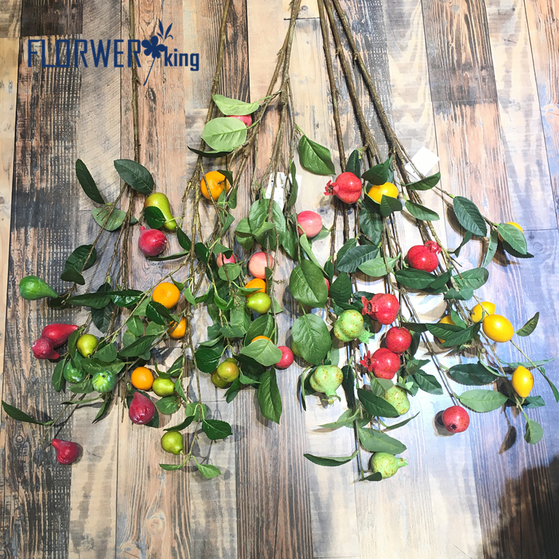 Flowerking Brand factory direct cheap apple artificial fruit tree artificial fruit branches