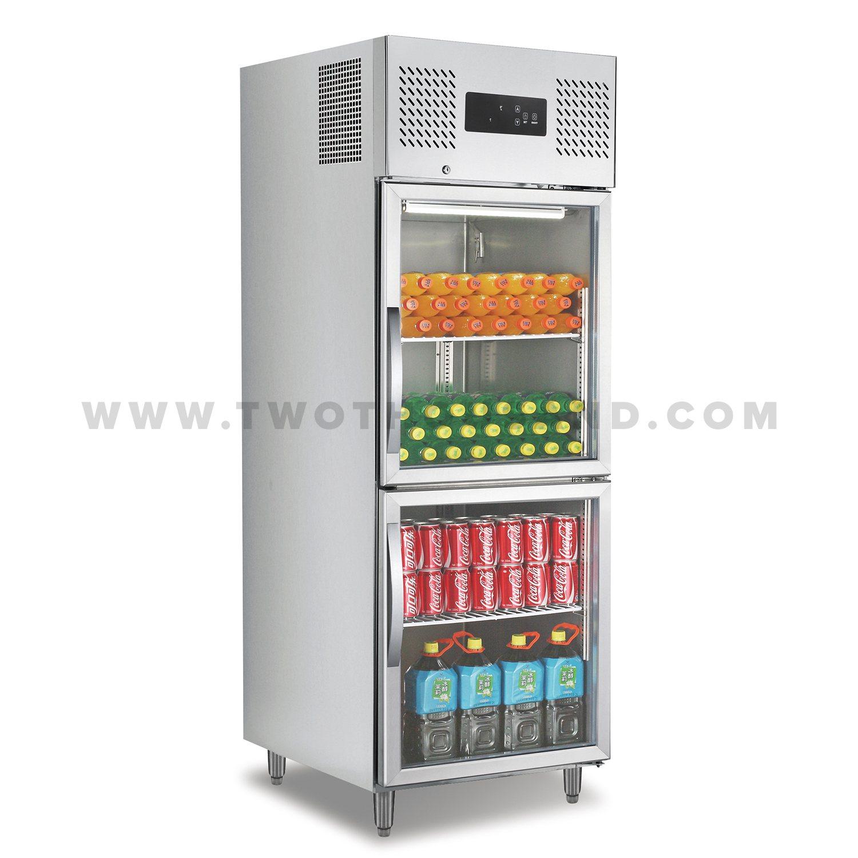 Tt Bc365y Two Half Glass Door Vertical Display Refrigerator Cooler