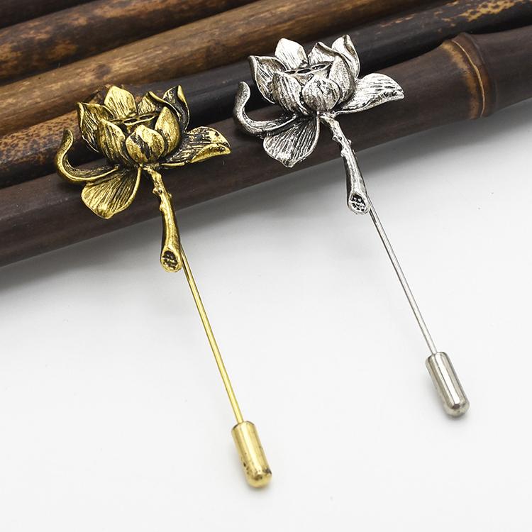Унисекс, метал покрытый золотом, серебром, костюм с цветочным принтом в виде лотоса и безопасности пользовательские брошь на булавке для женщин, для вечеринки, ювелирное изделие