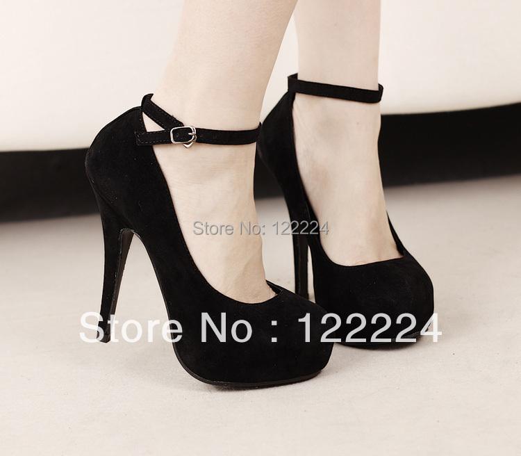 Fashion Black Ladies shoes size 12 platform high pumps ...