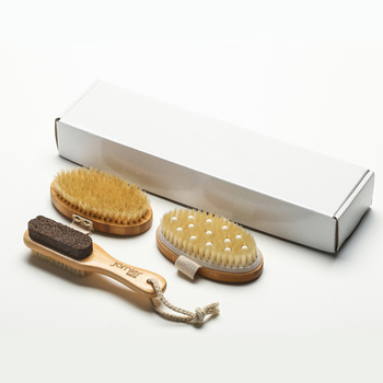 Bath Brush Set - Includes Bath Brush and Pumice Stone, Loofah Back Scrubber, Bath Pouf