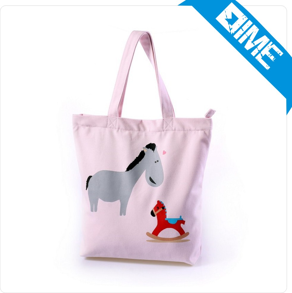 2016 Now Bag Authentic Pink Pony Pattern Large Canvas Tote Bag