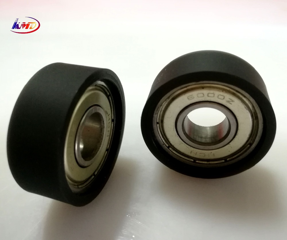 black rubber urethane molding bearing Wheel 6000zz PU pulley wheel with bearing for conveyance transmission