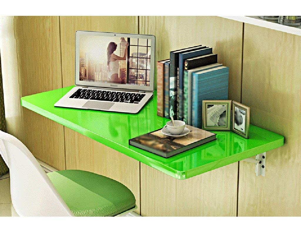 Mmdp Foldable Dining Table Office Table Computer Desk Wall-mounted Desk 6040cm Learning Table Color Optional (Color : Green)