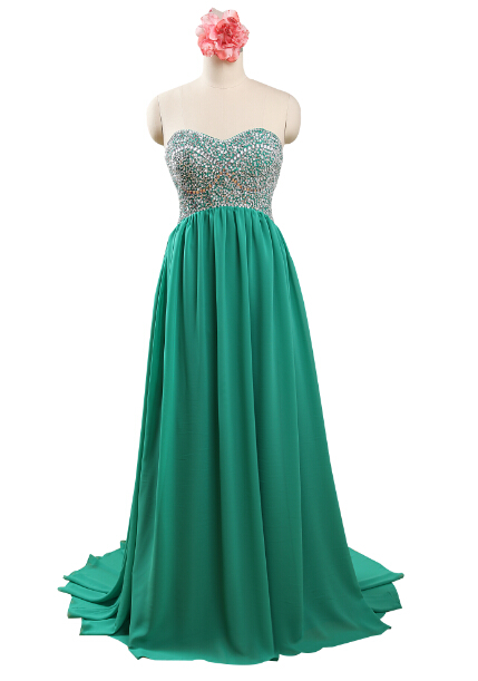 03b62c569ed Get Quotations · Sweetheart Sleeveless Chiffon Green Long Prom Dress Beaded  Evening Party Gowns Plus Size Special Occasion Dresses
