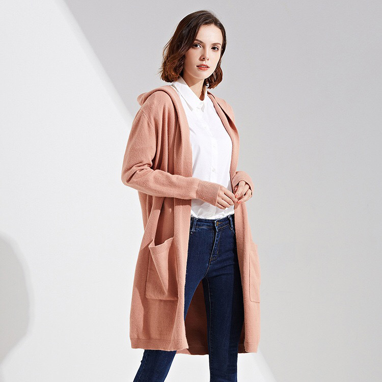Custom female knit spring and autumn new women long hooded sweater cardigan with pockets