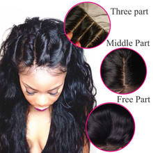 Unprocessed Virgin Human Hair Extension Cheap Three Part Top Lace Closure Bleached Knots 4*4 Body Wave