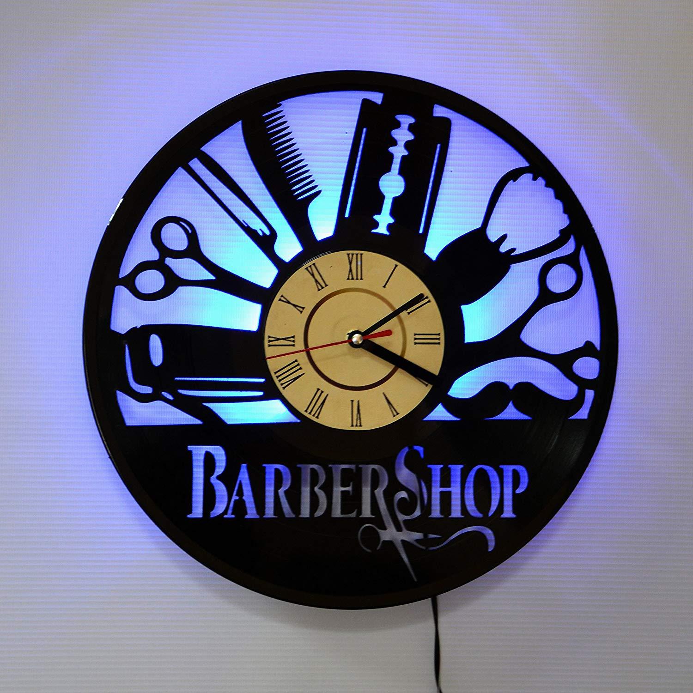 BARBER SHOP BLUE LED Vinyl Clock Night Light Night Lamp I Love Led Vinyl Clock Wall Light Backlight Color Remote Controller Vintage Handmade Home Decor Art Decorative Wall
