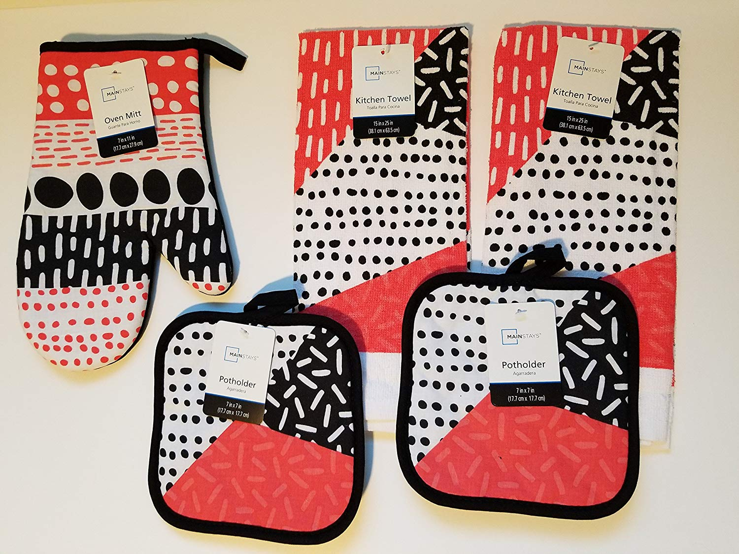 Watermelon Theme 5 Piece Kitchen Linen Set Includes 1 Oven Mitt, 2 Pot Holders and 2 Dish Towels