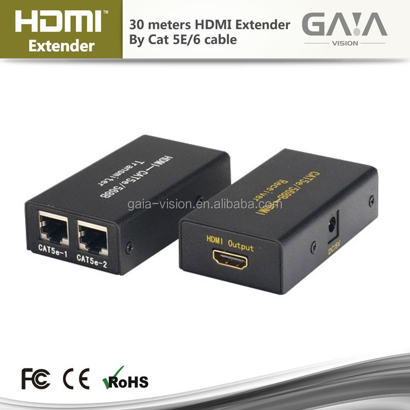 30M HDMI Over Cat5 / Cat6 Extender, Extended Range Transmitter and Receiver for Video and Audio 1080p at 60Hz