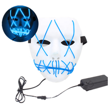 Halloween cosplay glow in the dark LED EL wire light up mask for festival parties