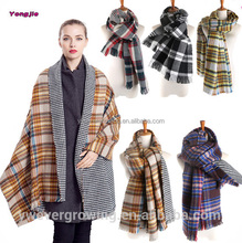 Hot-selling !!! Women Winter Warm Houndstooth Plaid Double Side Thick Acrylic Oversize Long Fashion Scarf 2016 Wholesale