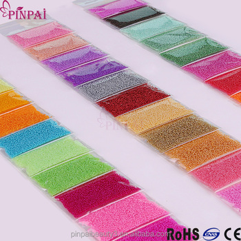 Pinpai Brand Colorful Mini Nail Art Glass Beads 3d Decoration Nail