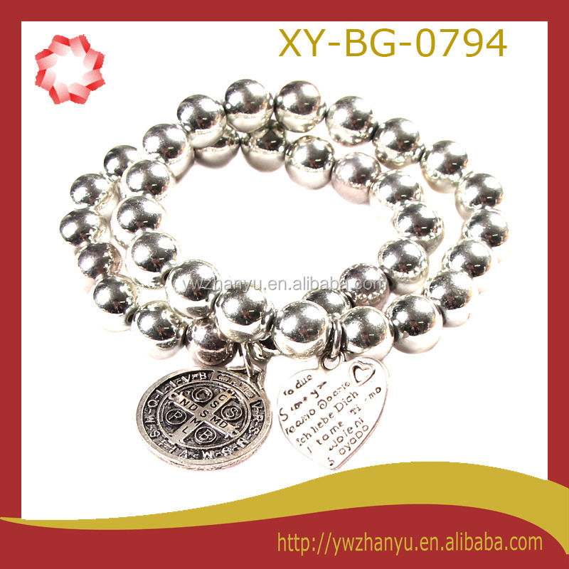 fashion handmade alloy beads coin heart pendant stretch bracelet