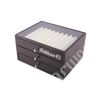 in stock! low price custom lacquer multi tiers wood pen box with clear window for display