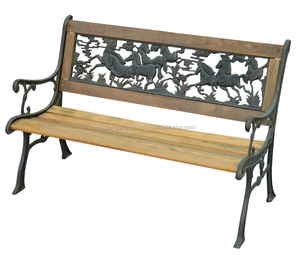 Wood slats cast iron outdoor bench for park