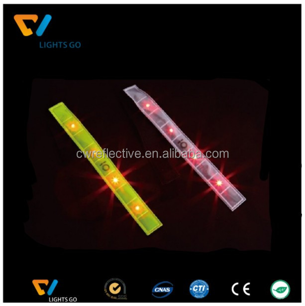 Dongguan New version reflective slap wrap wrist band and safety LED reflective armbands