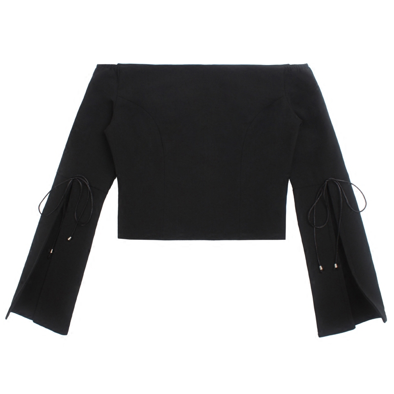 trumpet sleeve round neck casual fashion lady blouse for wholesale