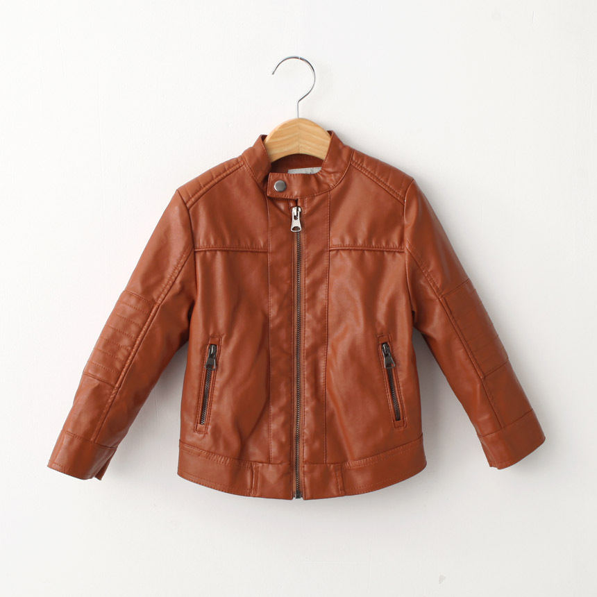 Kids brown leather jackets