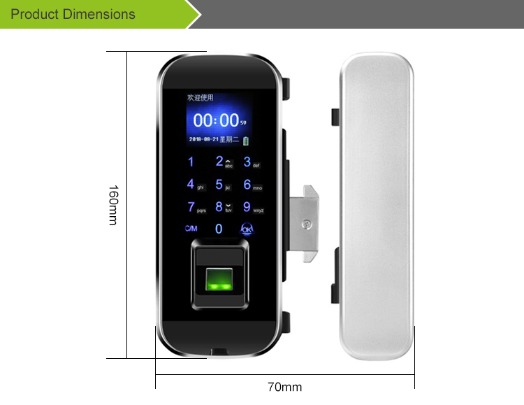 fingerprint lock for glass door iGlass100plus-J