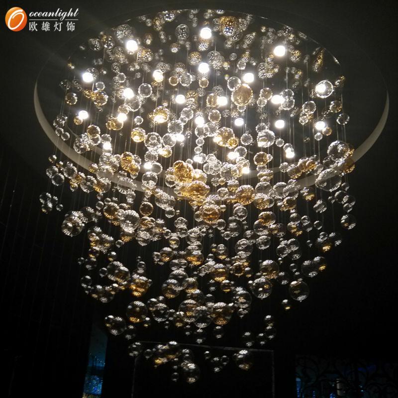Modern 60 70 90cm Crystal Led Chandeliers Ceiling Lights: Murano Glass Pendant Lights,Glass Ball Pendant Lights