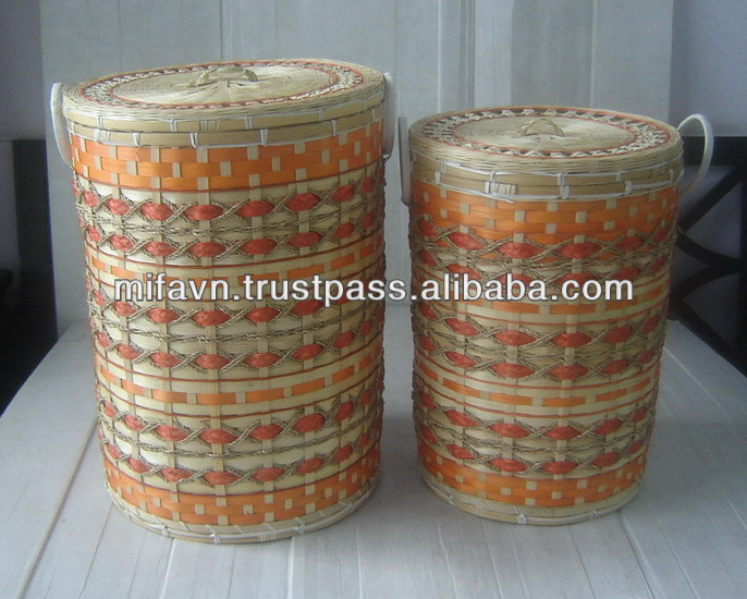 Unique Laundry Baskets Part - 15: Round Bamboo Unique Laundry Baskets With Lid Orange And Green Colors - Buy  Bamboo Basket Weaving,Novelty Laundry Basket,Cane Laundry Basket Product On  ...