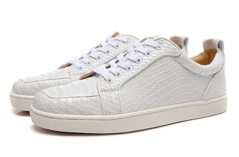 4d783c9227c1 Get Quotations · Designer White Python Snakeskin Genuine Leather Low Top  Fashion Red Bottom Sneakers