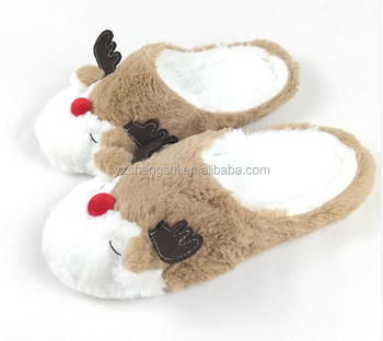 cf9dce2b897d OEM Christmas Plush Reindeer Slippers Plush Animal Indoor Slippers with  reindeer horn