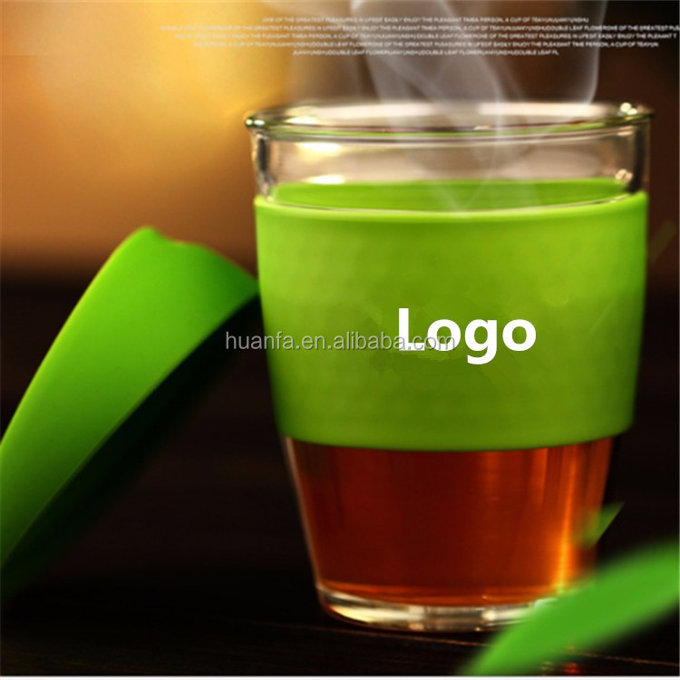 Eco 12oz double wall type Anti - leakproof glassware coffee mugs with protective shell