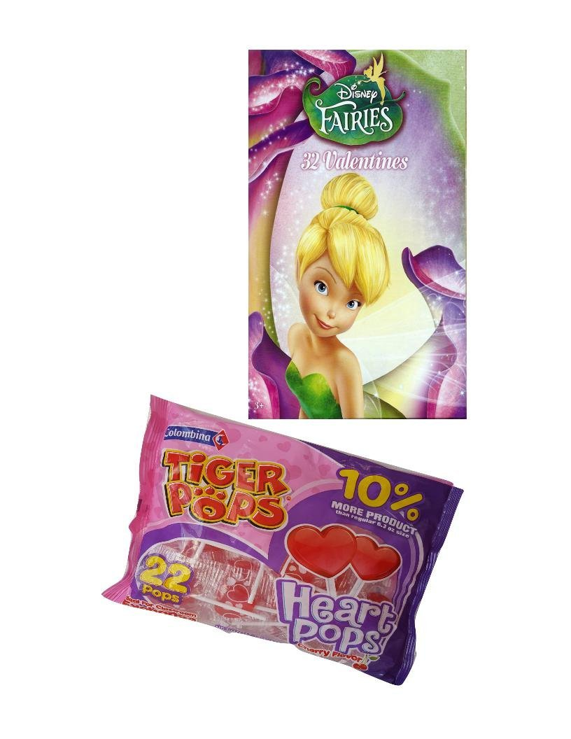 Disney Fairies 32 Valentines Day Cards and Tiger Pops Heart Pops Cherry Flavor Bundle Set