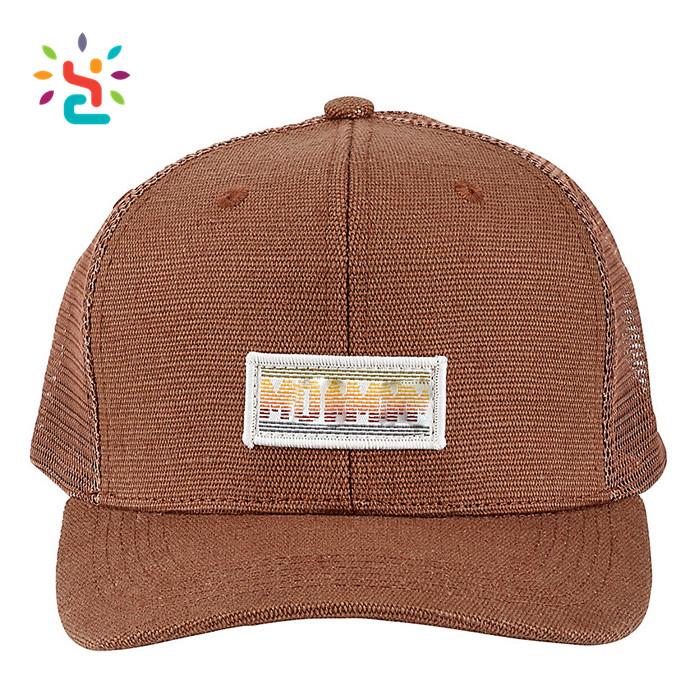 b4d1241457e Custom hemp snapback trucker hat with brown woven label mesh yupoo hemp cap