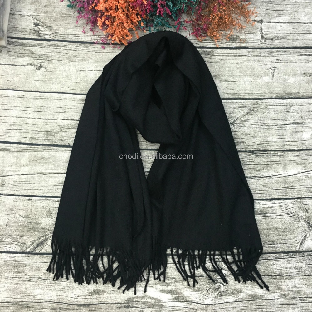 Hot sell winter soft black tassel plain cashmere fringe <strong>scarf</strong>
