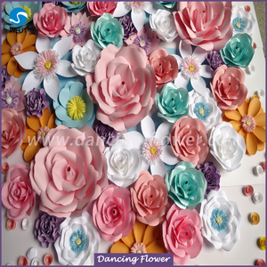 Custom mix size color wedding stage paper flower wall wedding backdrop
