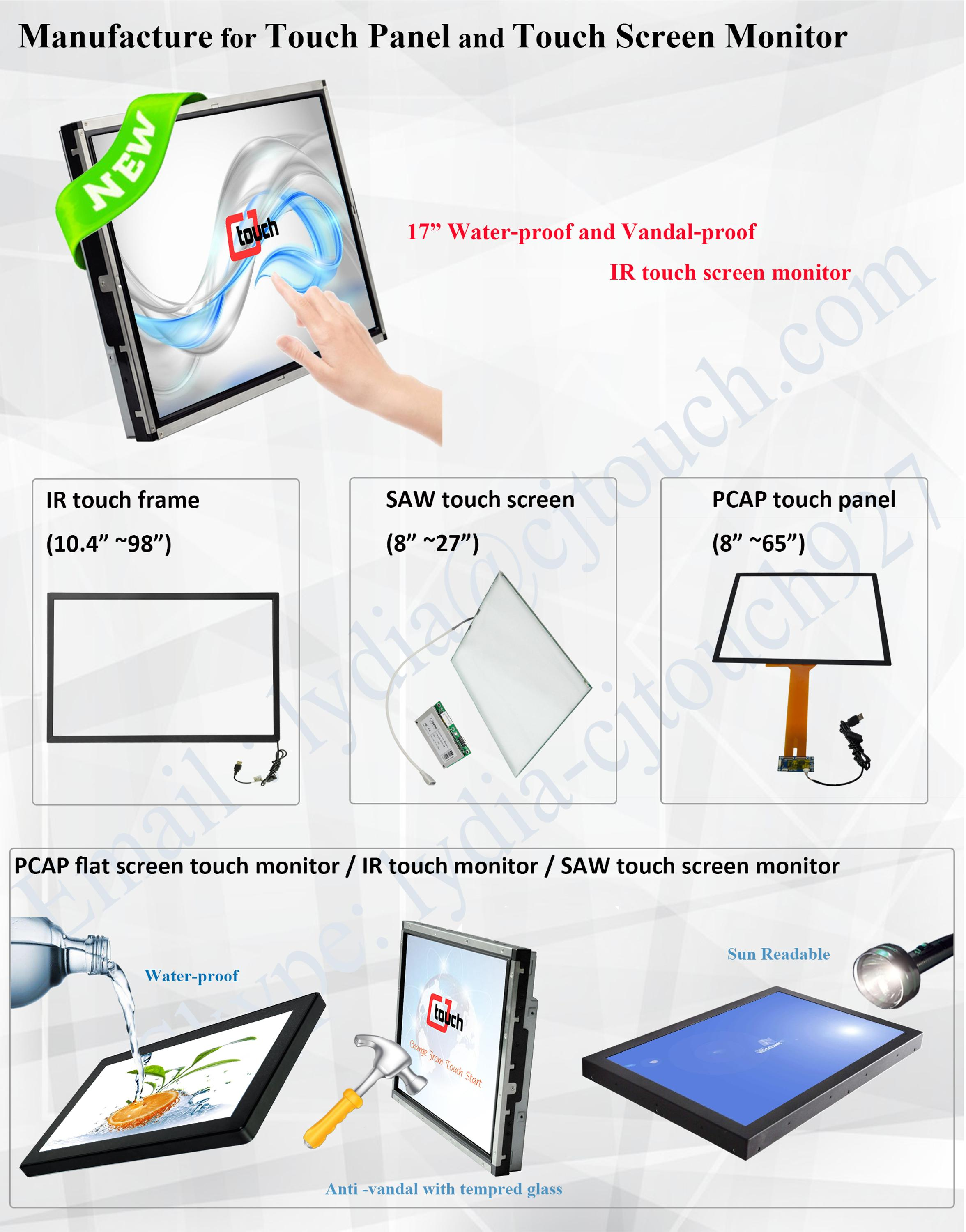 CJTOUCH 21.5inch ir multi touch screen waterproof lcd monitor