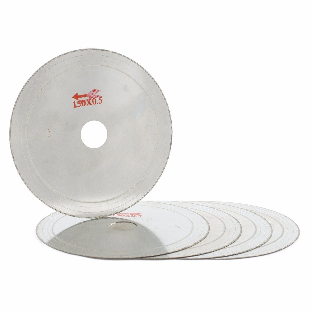 """JOINER 6"""" inch Super-Thin Arbor Hole 25mm Rim 0.6mm Diamond Lapidary Saw Blade Cutting Disc Saving in Material Jewelry Tools Gemstone Agate Pack of 5Pcs"""
